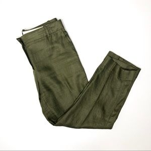 J. Crew olive green linen trousers size 6